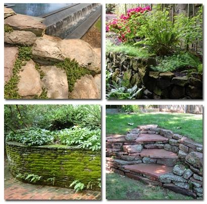 мох на каменных садовых структурах