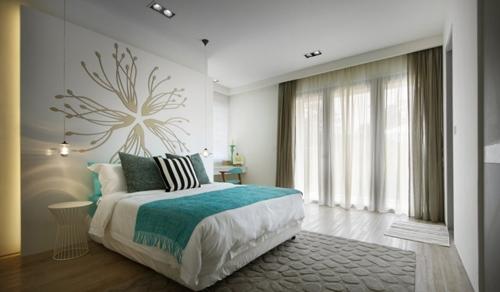оригинальный декор стены в спальне