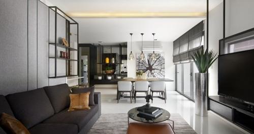 современный принт в интерьере гостиной