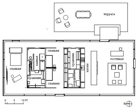 планировка каркасного гостевого дома