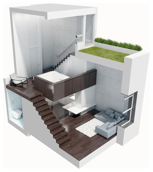 планировка и дизайн двухуровневой квартиры студии