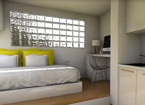 стеклоблоки в дизайне маленькой студии