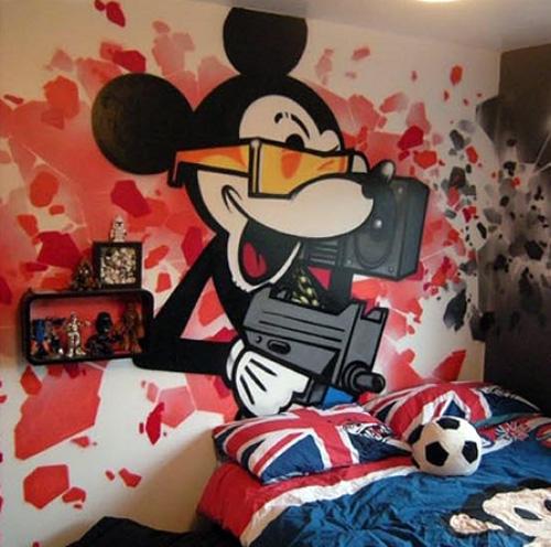 граффити в интерьере детской комнаты