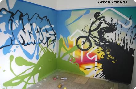 граффити в молодежном интерьере