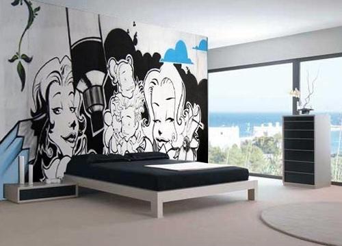 граффити в стильном интерьере спальни