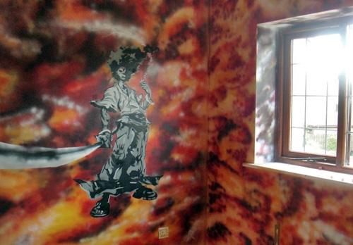 роспись стен комнаты в стиле граффити