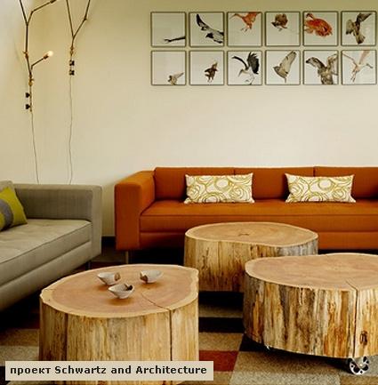 мебель из спилов дерева