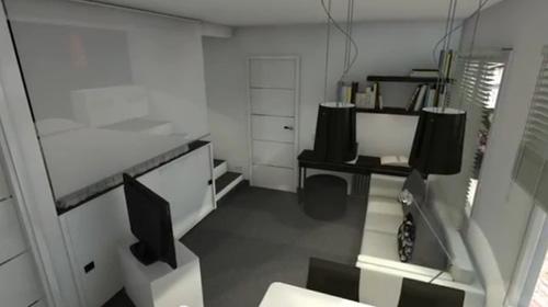 спальная зона в студии на подиуме