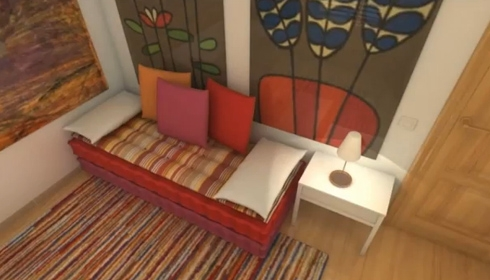 зона гостиной в маленькой студии
