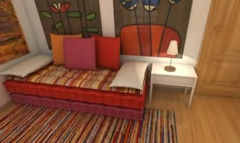 диван из двух матрасов в стиле хиппи