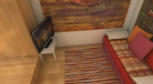 подиум с выдвижной кроватью в маленькой студии