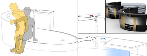 принцип использование ванны с поднимающимися бортиками