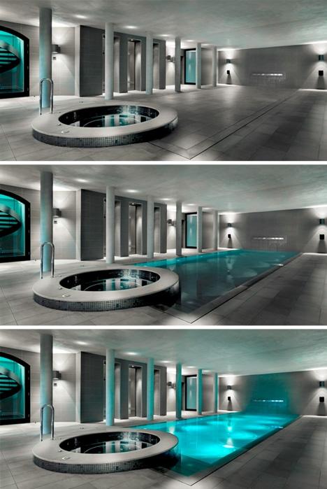 невидимый внутренний бассейн с подъемным полом