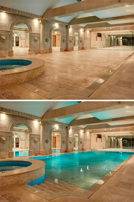 невидимый наружный бассейн с подвижным полом