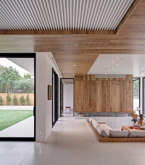 отделка стен и потолка деревом в современном интерьере