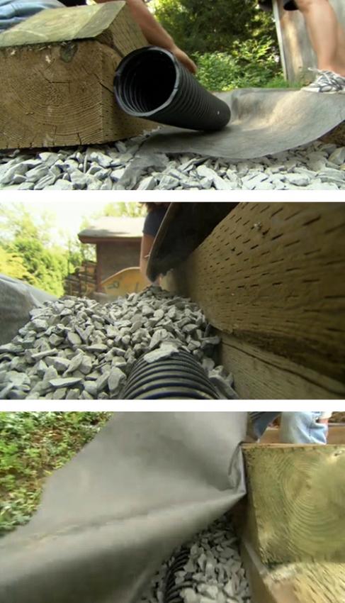 устройство дренажной системы деревянной подпорной стены