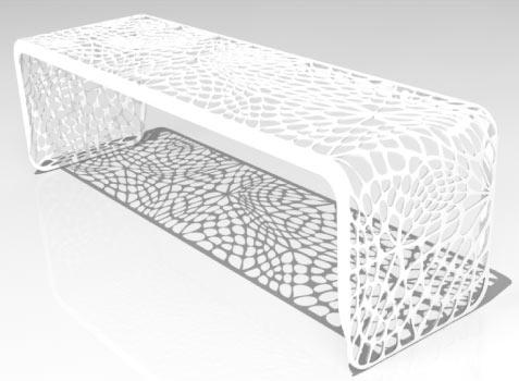 ажурная скамейка в органическом стиле