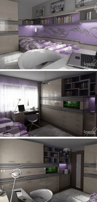 комната для подростка в серо-сиреневой гамме