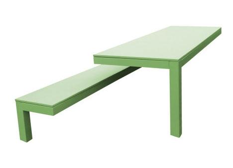 необычный альянс садовой скамьи и стола