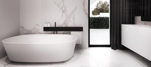черно-белый интерьер ванной в частном доме