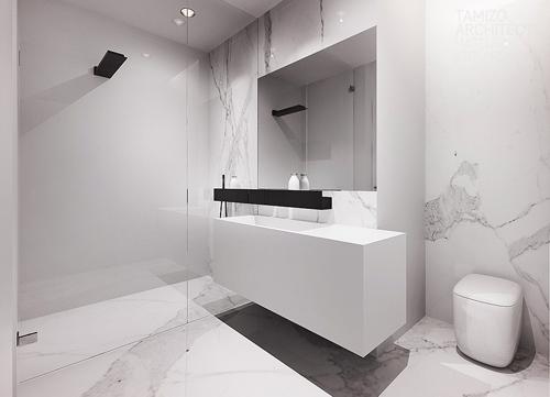современный интерьер черно-белой ванной комнаты
