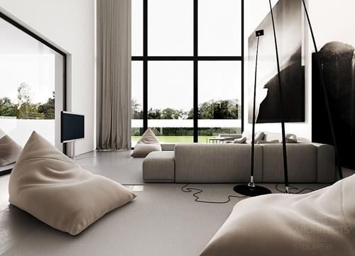 черно-белый частный дом с панорамными окнами