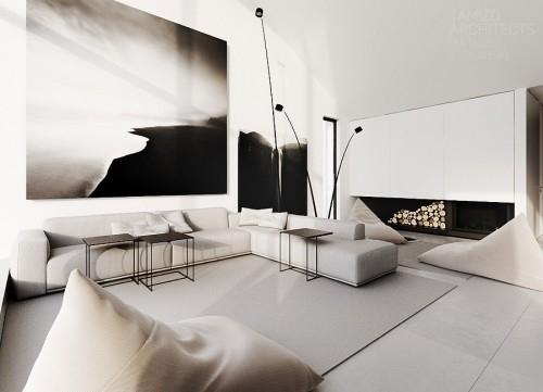 современный дом с черно-белыми интерьерами