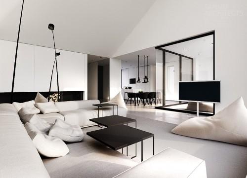черно-белая гостиная в частном доме