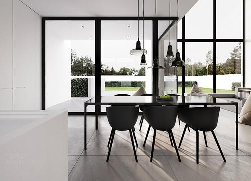 черно-белая столовая в частном доме