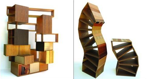 оригинальные стеллажи из отходов древесины
