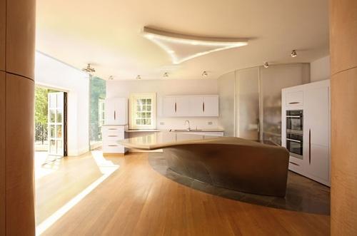 уникальный кухонный остров обтекаемой формы