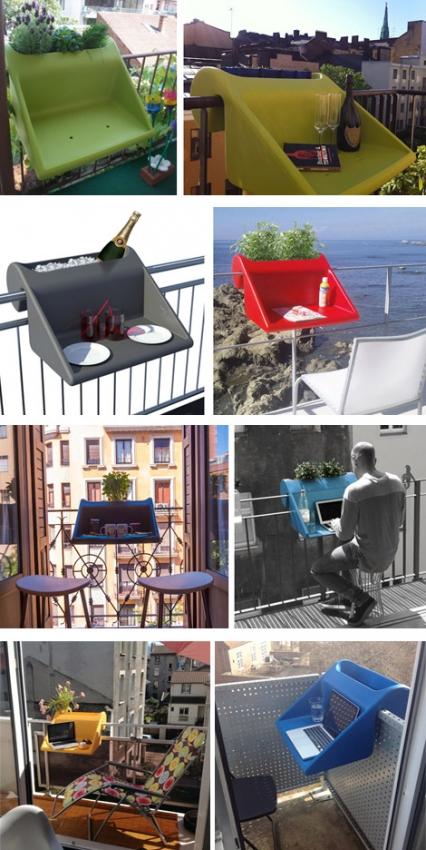 варианты использования подвесного столика на балконе