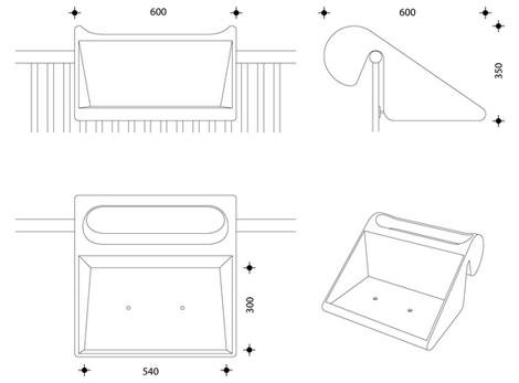 габариты пластикового подвесного столика для балкона