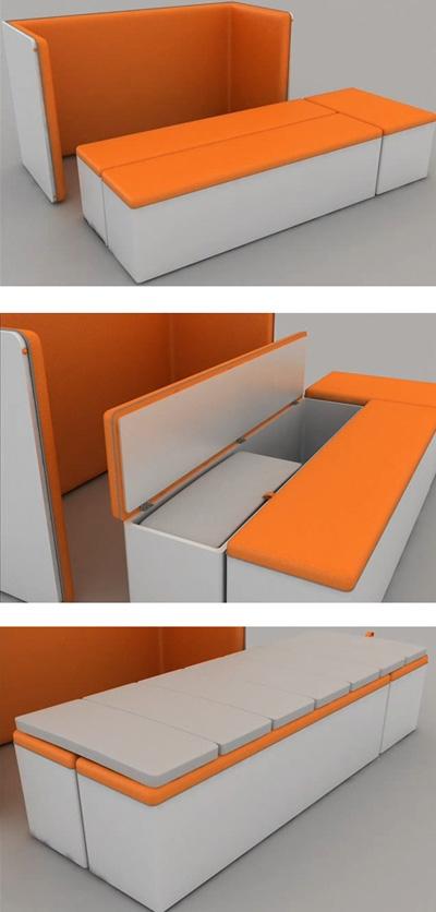трансформация дивана в компактную кровать