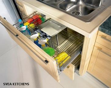 выдвижные ящики под врезной кухонной мойкой