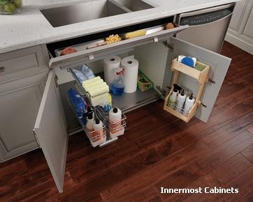 современный дизайн тумбы под кухонную мойку