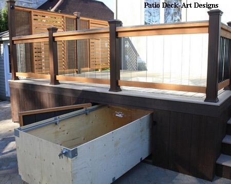 сарай с выдвижным ящиком под террасой