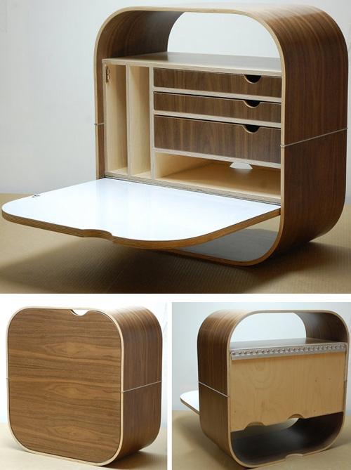 оригинальный складной компьютерный столик с настенным креплением