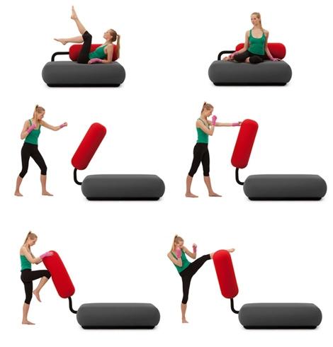 использование дивана для отдыха и активных занятий