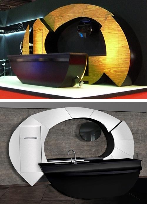 дизайн изогнутых фасадов кухонной мебели