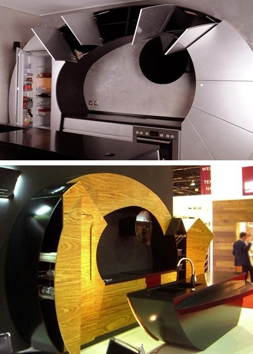 конструкция изогнутых кухонь