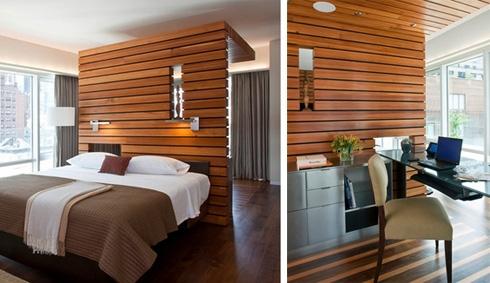 необычная зональная перегородка между спальней и кабинетом