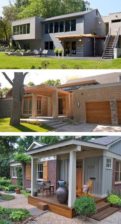 крыльцо кирпичного дома с деревянными элементами