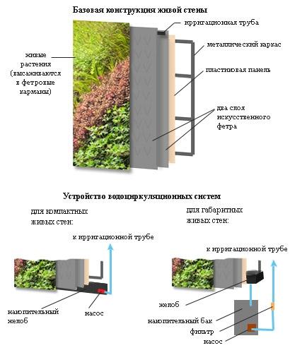конструкция живой стены