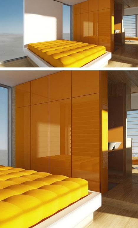 стильный интерьер компактного дачного дома