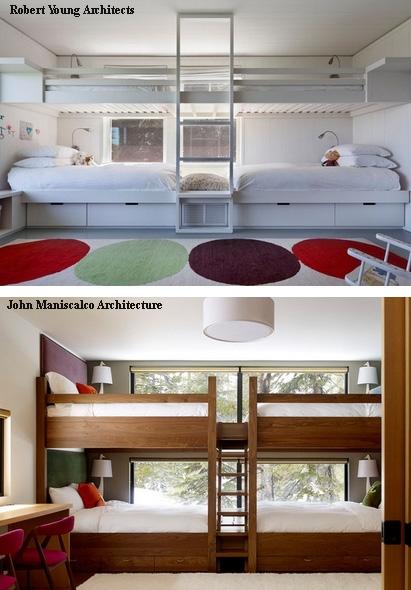 двухъярусная спальная зона напротив окон