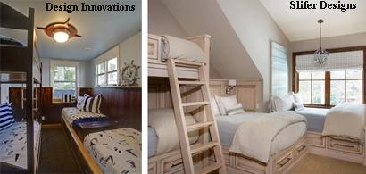 двухъярусная и обычные кровати в детской для четверых