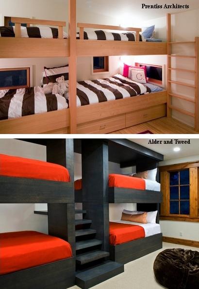 кровати-чердаки в детской для четверых