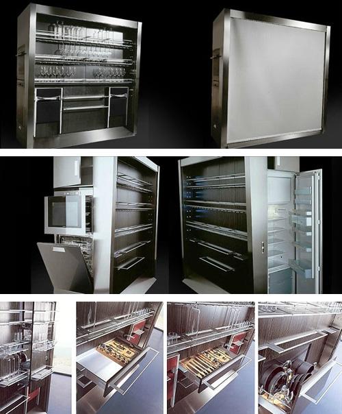 прямоугольный кухонный блок со встроенной техникой