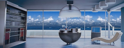 оригинальная кухня с островом сферической формы